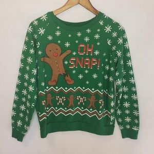 Gingerbread Man Oh Snap Ugly Christmas Sweater Sm